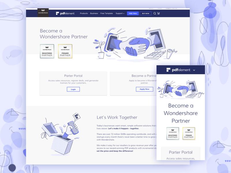 Partner Program - PDFelement / Wondershare hands web ad textures storytelling landing page abstact web ui illustration