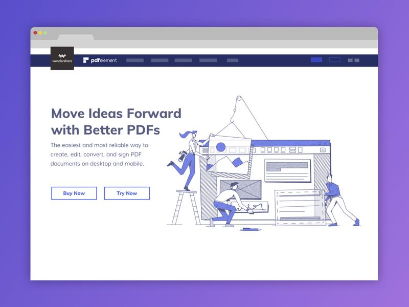PDFelement Homepage Redesign procreate affinity designer uxillustration pdfelement vector ui illustration