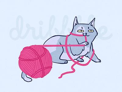 Henlo, Dribbble! ❤️ henlo animal hello dribble flat clew kitty cat dribbble debutshot debut first post firstshot illustration 2d art 2d