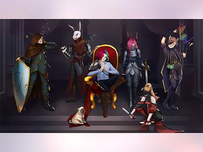 Joqwa's team design mascot graphicforstream twitch streamers 2d 2d art illustration