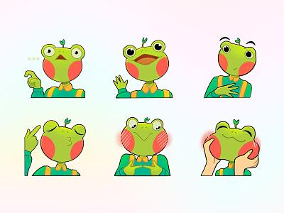 Le Gushka stickers telegram frog mascot illustration design 2d art 2d
