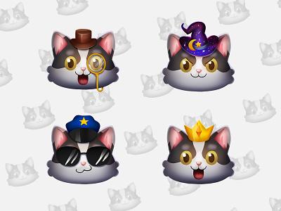 Twitch cat sub badges! concept character cartoon cat branding twitch streamers graphicforstream illustration design 2d art 2d