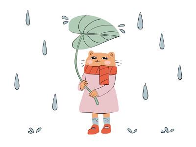 Rainy day illustration cute animal art animal cute art rainy design character cat illustration 2d art 2d