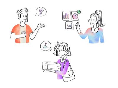 New illustrations 2d art 2d texture minimalist character design web illustration team teamwork product illustration brand illustration app illustration app hand drawn character illustration