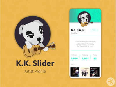 DailyUI 006 userinterface user profile design user profile musician dog jack russell terrier kk slider animal crossing vector yellow ui design ux dailyuichallenge illustration illustrator dailyui