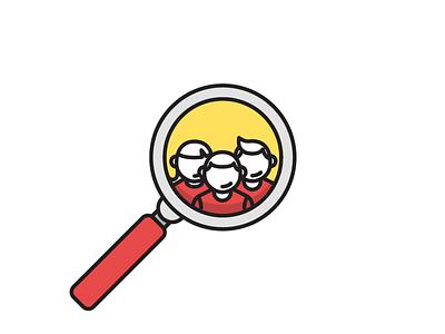 Meet The Team flat icon line vector team illustration