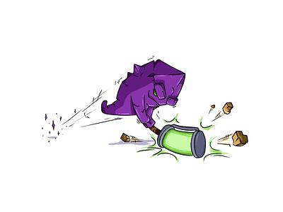 Crystal character cartoon smash teleport hammer energy illustration crystal throne nuclear