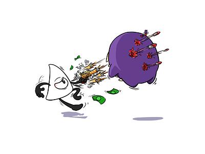Y.V. cartoon illustration brrap god gun throne nuclear character yv