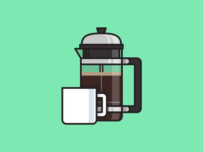 French Press french press plunger flat vector cup mug coffee