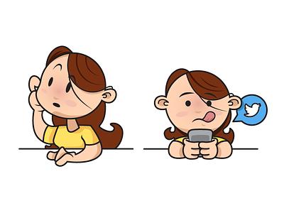 A little more vector art for ya! phone infographic cartoon tweet girl character vector
