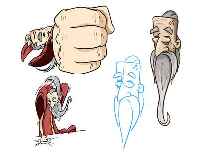 Old Man extreme perspective old man beard cartoon illustration colour punch sketch character