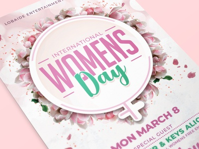 Womens Day Flyer Template card design template pink march 8 clean white flower girls womens womens day flyer womens march womens day mothers day mothers day flyer event flyer template design party event flyer design flyer template