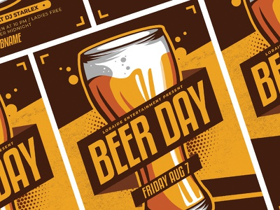 Beer Day Flyer event template international beer day beer day vector template design party event poster design event flyer party flyer happy hour advertising flyer design flyer template