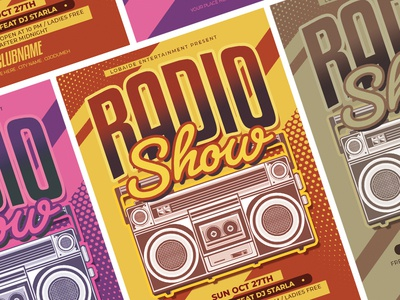 Radio Show Flyer Template vector vintage design vintage retro design retro on air template design flyer advertising boombox radio radio show event flyer flyer design flyer template