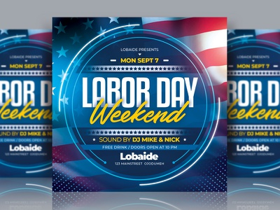 Labor Day Weekend Flyer america usa template design flyer event design labor day weekend labor day template party event party flyer advertising event flyer flyer design flyer template