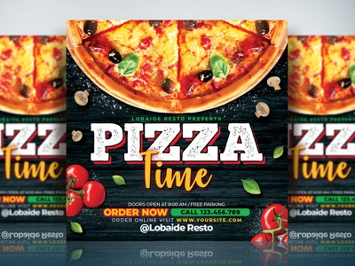 Pizza Flyer Template layout design print design banner design instagram template print template print event party event pizza menu template menu design flyer advertising template design restaurant food menu food flyer flyer design flyer template