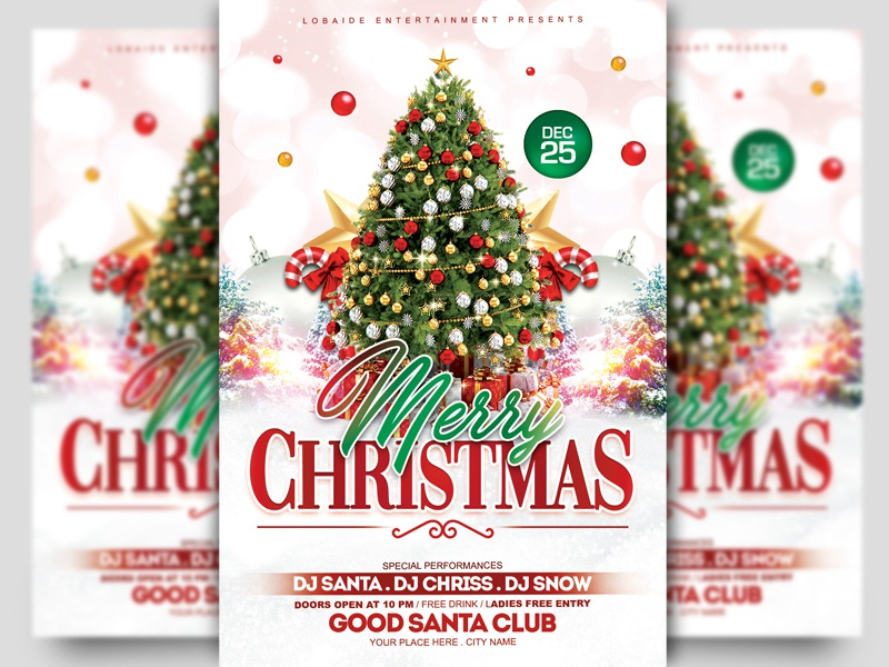 Christmas Flyer.Christmas Flyer Template By Lobaide On Dribbble