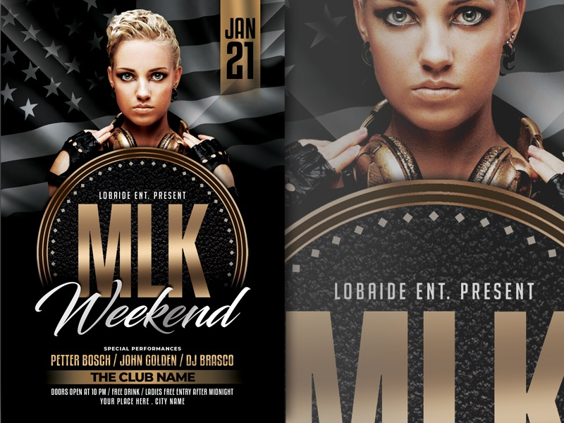MLK Weekend Flyer Template poster black and gold party flyer advertising event black gold party event event flyer flyer design flyer template martin luther king jr martin luther king mlk mlk day
