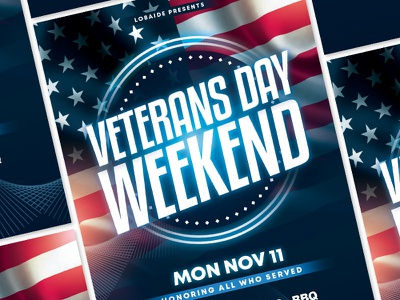 Veterans Day Flyer Template light america american flag invitation poster armed memorial day mock up template advertising event party event flyer usa usa flag veterans day template design event flyer flyer design flyer template
