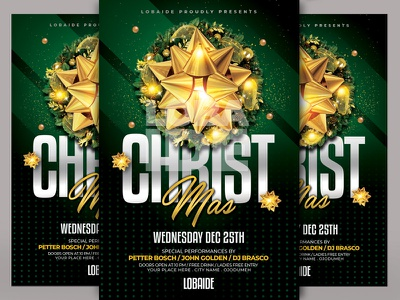 Christmas Flyer Template events templatedesign graphic  design minimal gold red green christmas party christmas flyer christmas card christmas tree christmas print event party event advertising event flyer template design flyer design flyer template