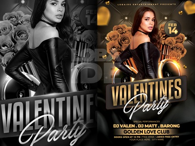 Valentines Party Flyer Template elegant mock up template party flyer flower valentines party flyer valentines da party valentines day flyer valentine day black and gold flyer design party event template design event flyer flyer template
