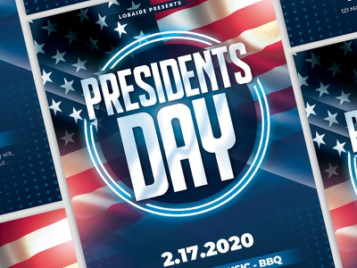 Presidents Day Flyer usa flag flyer minimal star red blue labor day veterans day election presidents day print america american flag usa flyer design party event advertising template design event flyer flyer template