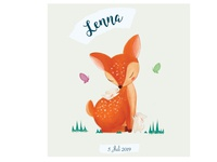 Birth announcement card for Lenna digital artwork forest rabit childrens illustration child kids card birth announcement bambi digital paint digital art nature woods animals procreate graphic design illustration