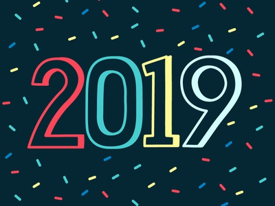 Happy New Year! leniolabs graphic design html stroke animation svg hand animation codepen css confetti typography illustration svg animation new year 2019