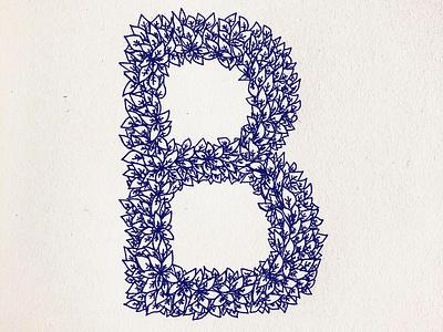 Letter B for Beldi floral art nouveau retro old paper drawing pattern typogaphy letter b monogram ink drawing autumn leaves ink illustration logo ink design illustration lettering