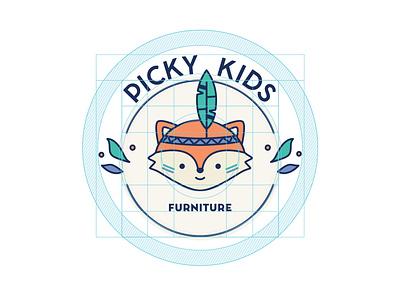 Picky Kids Logo construction grid construction kids furniture fox animal picky kids brand logo construction grid vector logo branding graphic design illustration