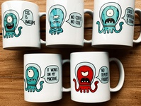 Nerd mugs print softwaredevelopment webdev nerd characterdesign alien mugs vector illustration brand merchandising design vector branding graphic design illustration