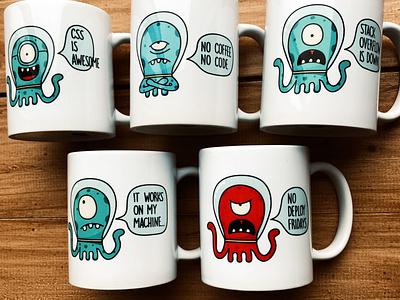 Nerd mugs print softwaredevelopment webdev nerd characterdesign alien mugs vector illustration brand merchandising design vector branding graphic design illustration