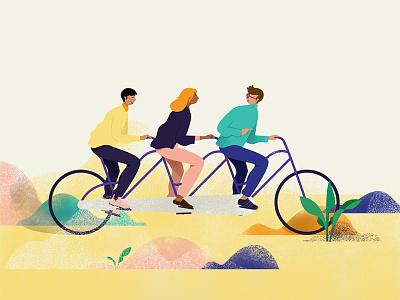 Tandem bike editorial illustration