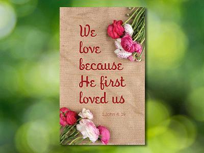 God First Loved Us burlap flower nonprofit card prayer