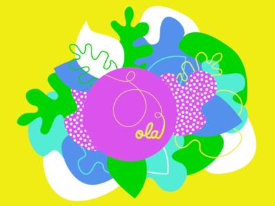 Ola illustration shapes color pattern hand lettering typography