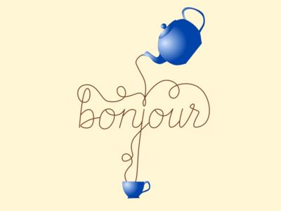 Bonjour illustration typography hand lettering