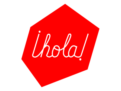 Hola red typography handlettering