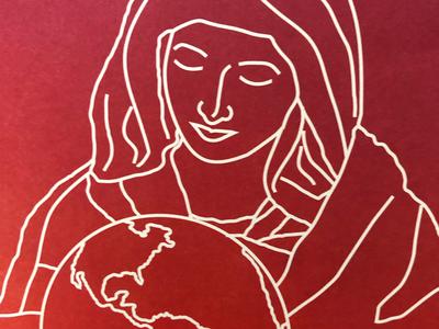 Illustration For Prayer Booklet orange magenta line drawing illustration