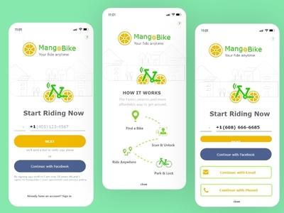 MANGO BIKE Rent Bike App branding logo vector design illustration location page cycle rent app mango bike