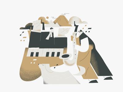 JAM drawing music illustraion texture charachter design