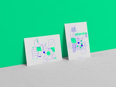 postcard design B postercard minimal oneline lineart illustration