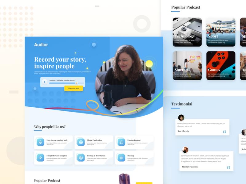 Landing Page for Podcast app - Design Exploration