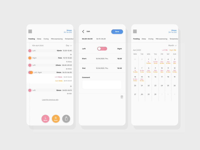 Feeding tracker redesign form tabs editing calendar timeline minimalism grays app design adobe adobe xd redesign ux uiux ui app