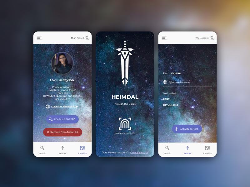 Heimdal - Application for asguard warriors user profile profile mobile app design interface adobexd adobe xd adobe ux uxdesign uidesign uiux application ui application geek app
