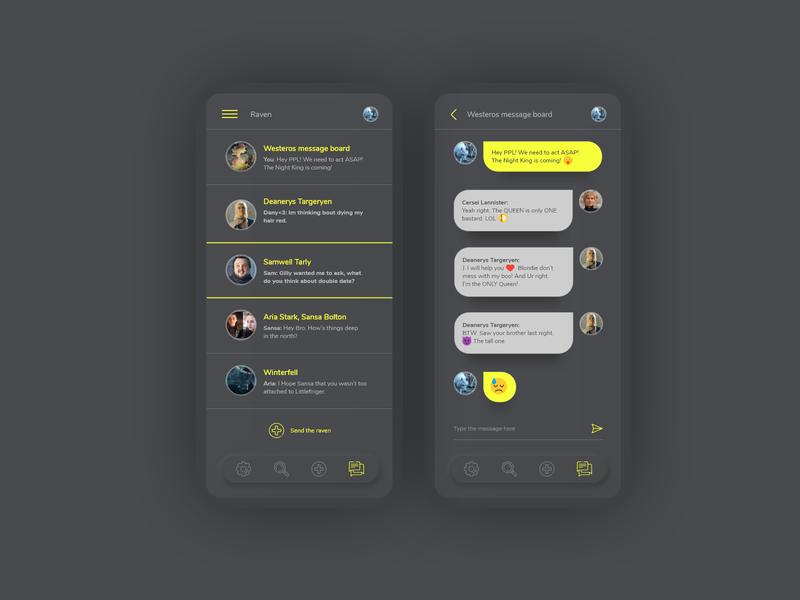 Raven dark ui neumorphic chat app got gameofthrones messages communication conversation chat ui design ui  ux application ui geek adobexd app ux adobe adobe xd interface uiux