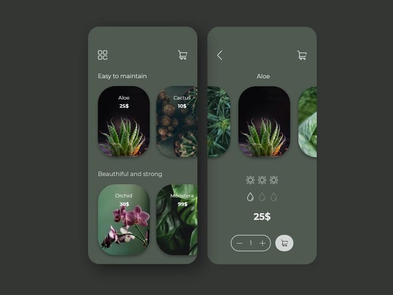 Plant Shop - Dark theme interface adobe adobe xd uiux application ui ui design minimalism photos shop dark ui dark ui