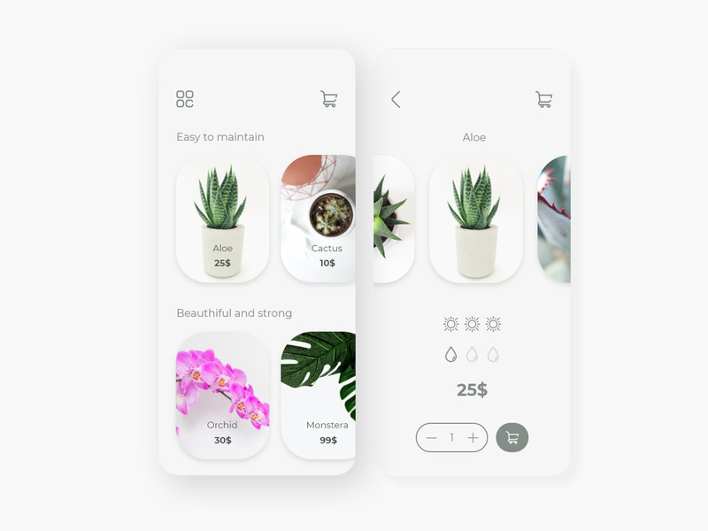 Plant shop - Light theme minimalism photo gallery shop interface design adobexd application ui application adobe adobe xd ux ui uiux interface