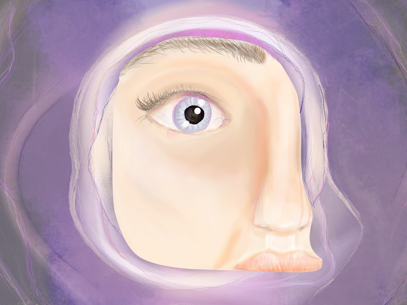Violet drawing illustration face abstract