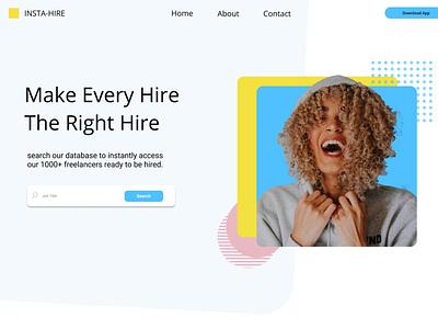 InstaHire - App Landingpage graphic design ui typography branding app design ux web website webdesign