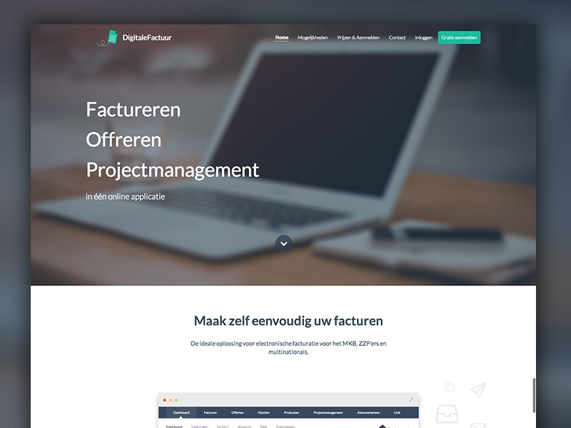 DigitaleFactuur website webdesign homepage invite debut